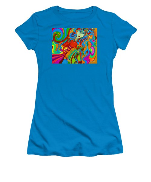 Women's T-Shirt (Junior Cut) featuring the painting Carousel Dance 2016 by Alison Caltrider