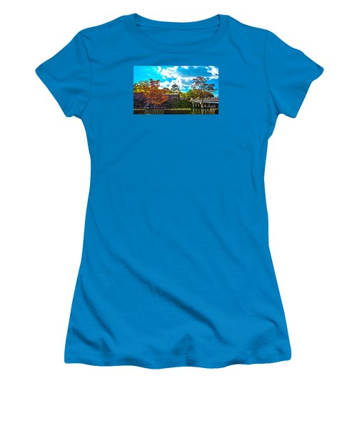 Women's T-Shirt (Junior Cut) featuring the photograph Castle In Osaka by Pravine Chester