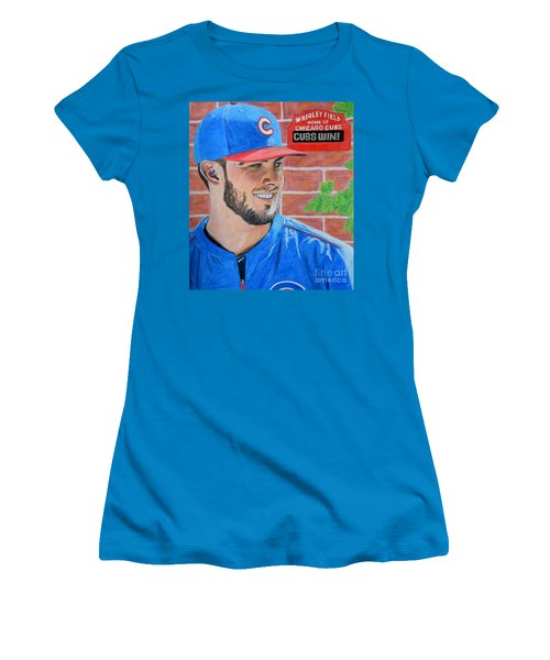 Chicago Cubs Kris Bryant Portrait Women's T-Shirt (Junior Cut) by Melissa Goodrich