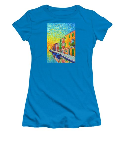 Colorful Burano Sunrise - Venice - Italy - Palette Knife Oil Painting By Ana Maria Edulescu Women's T-Shirt (Athletic Fit)