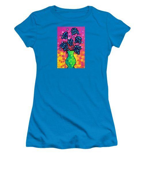 Women's T-Shirt (Junior Cut) featuring the painting Colorful Flower Bouquet By Sharon Cummings by Sharon Cummings