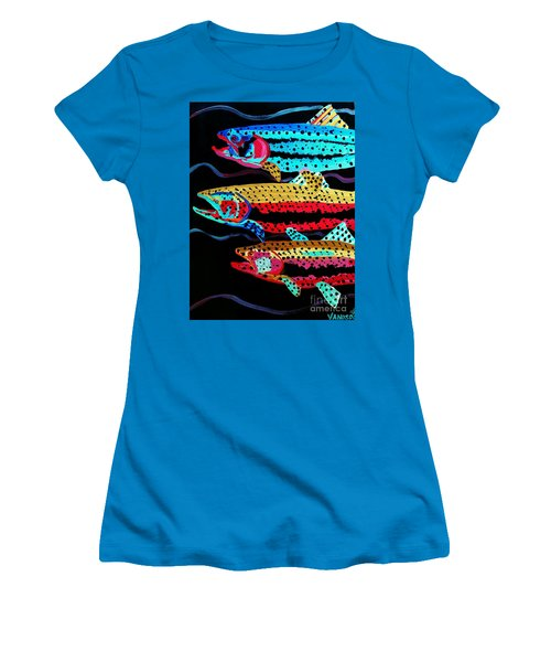 Colorful Swimming Trout Women's T-Shirt (Junior Cut) by Scott D Van Osdol