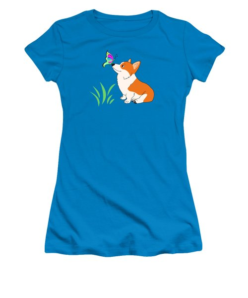 Corgi With Butterfly T-shirt Women's T-Shirt (Junior Cut) by Kathy Kelly