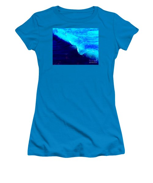 Crystal Blue Wave Painting Women's T-Shirt (Junior Cut) by Catherine Lott