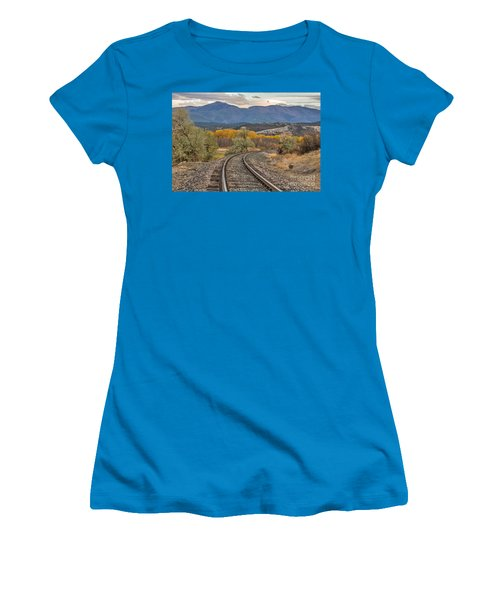 Women's T-Shirt (Junior Cut) featuring the photograph Curve In The Tracks In Autumn by Sue Smith