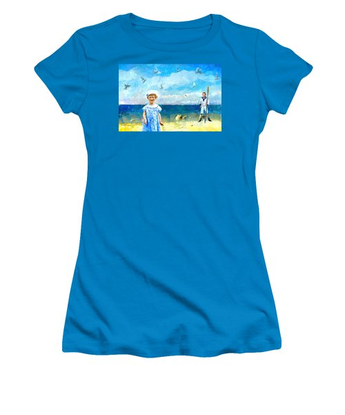 Women's T-Shirt (Junior Cut) featuring the digital art Day At The Shore by Alexis Rotella