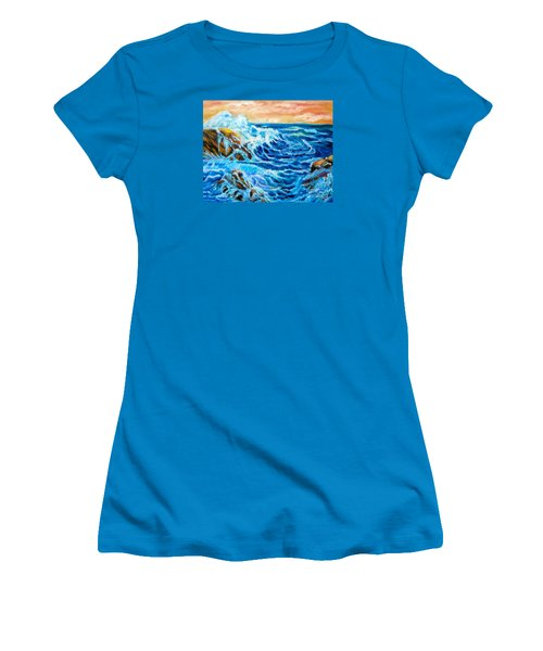 Women's T-Shirt (Junior Cut) featuring the painting Deep by Jenny Lee