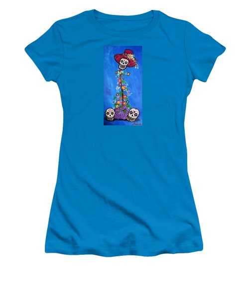 Women's T-Shirt (Junior Cut) featuring the painting Dia De Los Muertos by Pristine Cartera Turkus