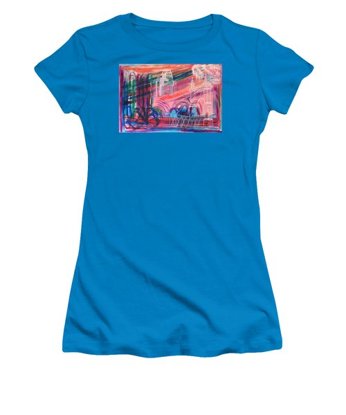 Women's T-Shirt (Junior Cut) featuring the painting Downtown Cincinnati by Diane Pape
