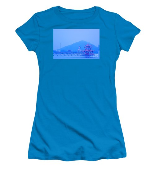 Women's T-Shirt (Junior Cut) featuring the photograph Early Morning At The Lotus Lake by Yali Shi