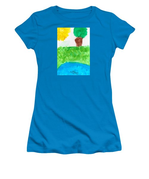 Women's T-Shirt (Junior Cut) featuring the painting El Paisaje by Artists With Autism Inc
