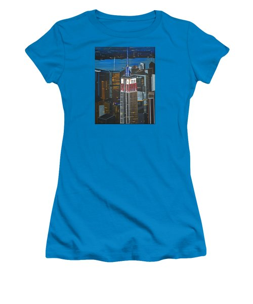 Women's T-Shirt (Junior Cut) featuring the painting Empire State by Donna Blossom