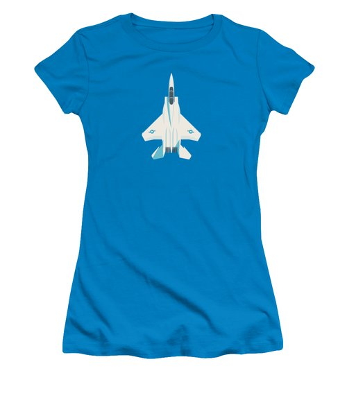 F15 Eagle Us Air Force Fighter Jet Aircraft - Blue Women's T-Shirt (Athletic Fit)