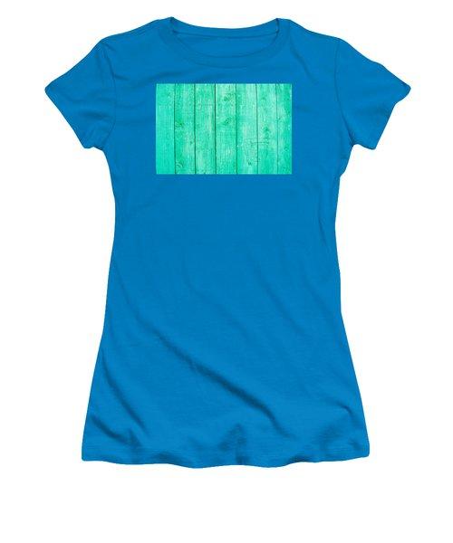 Women's T-Shirt (Junior Cut) featuring the photograph Fading Aqua Paint On Wood by John Williams