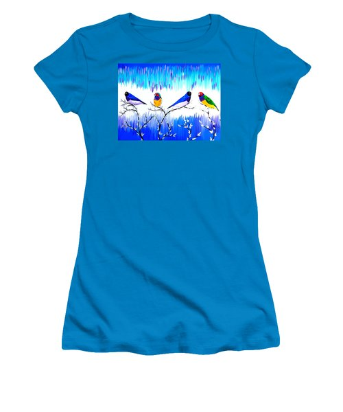 Finches Women's T-Shirt (Junior Cut) by Cathy Jacobs