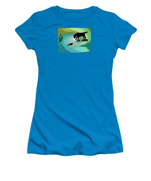 Fishing Labrador Dog Women's T-Shirt (Athletic Fit)