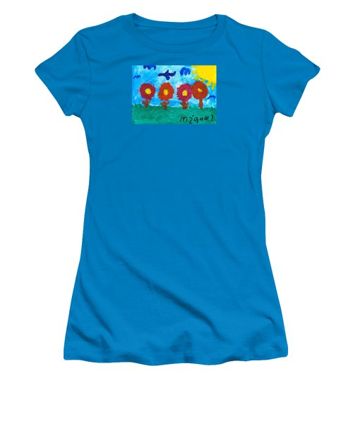 Women's T-Shirt (Junior Cut) featuring the painting Flowers And Airplane by Artists With Autism Inc