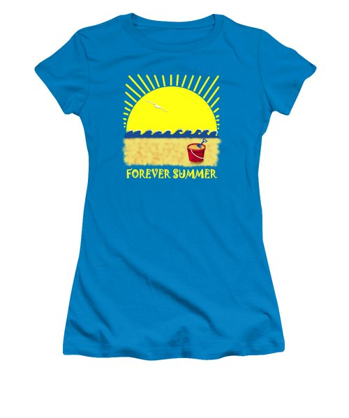 Women's T-Shirt (Junior Cut) featuring the digital art Forever Summer 8 by Linda Lees