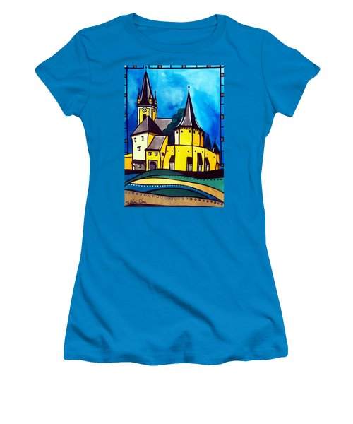 Women's T-Shirt (Junior Cut) featuring the painting Fortified Medieval Church In Transylvania By Dora Hathazi Mendes by Dora Hathazi Mendes