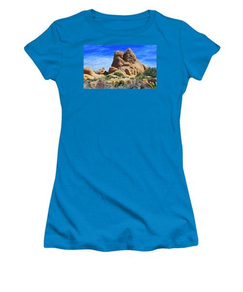 Ghost Rock - Joshua Tree National Park Women's T-Shirt (Junior Cut) by Glenn McCarthy Art and Photography