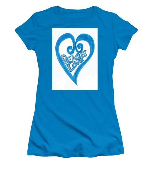Global Peace And Love Heart Women's T-Shirt (Athletic Fit)