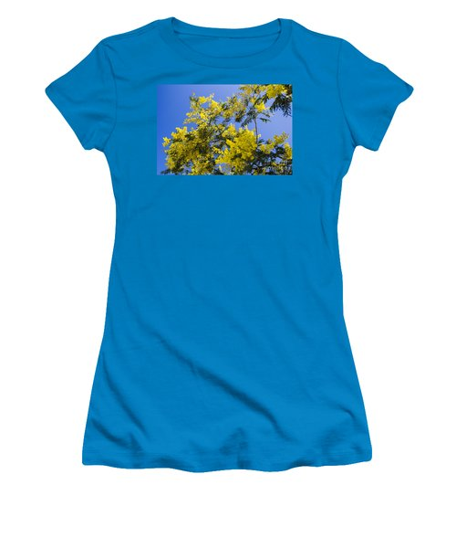 Women's T-Shirt (Athletic Fit) featuring the photograph Golden Wattle by Angela DeFrias