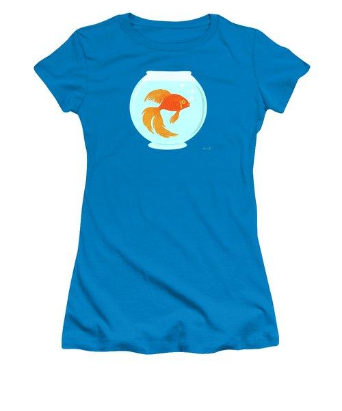 Goldfish Fishbowl Women's T-Shirt (Junior Cut) by Little Bunny Sunshine