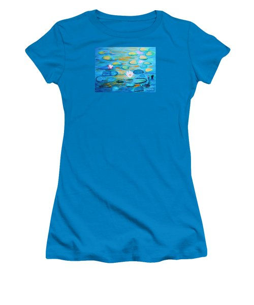 Women's T-Shirt (Junior Cut) featuring the painting Graceful Pond From The Water Series by Donna Dixon