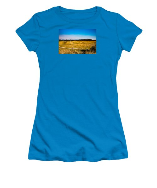 Women's T-Shirt (Junior Cut) featuring the photograph Grazing Horses by Cathy Donohoue