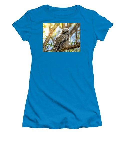 Great-horned Owlet In Spring Women's T-Shirt (Junior Cut) by Yeates Photography
