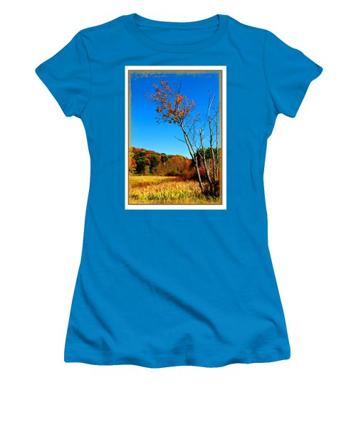 Women's T-Shirt (Junior Cut) featuring the photograph Hanging On To Autumn by Joan  Minchak