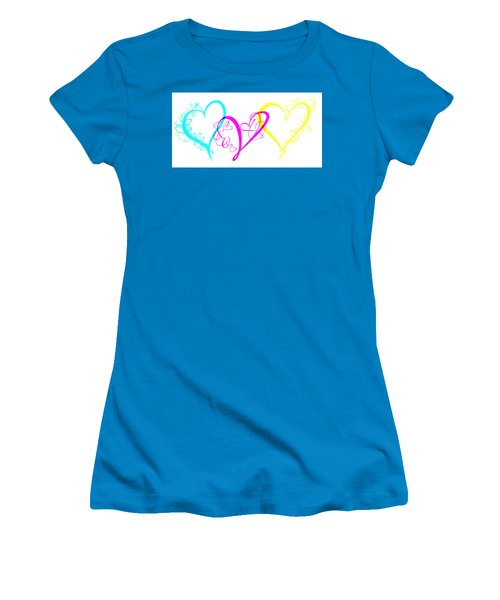 Hearts On White Women's T-Shirt (Athletic Fit)