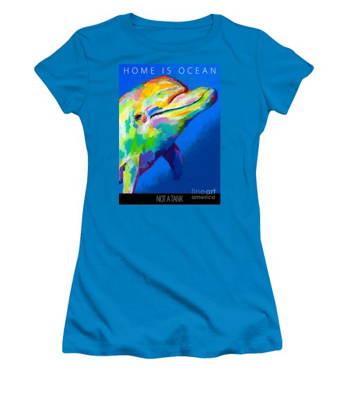 Women's T-Shirt (Junior Cut) featuring the painting Home Is Ocean by Stephen Anderson