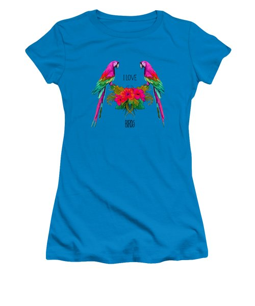 I Love Birds Women's T-Shirt (Junior Cut) by Ericamaxine Price