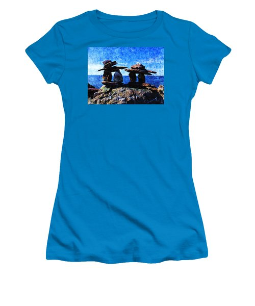 Women's T-Shirt (Junior Cut) featuring the photograph Inukshuk by Zinvolle Art
