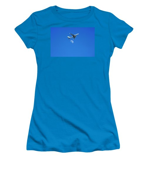 Jet Plane Flying Over The Moon Women's T-Shirt (Athletic Fit)
