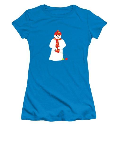 Knitting Snowman Women's T-Shirt (Junior Cut) by Barbara Moignard