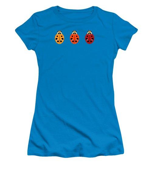 Women's T-Shirt (Junior Cut) featuring the digital art Ladybug Trio Horizontal by MM Anderson