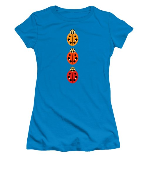 Women's T-Shirt (Junior Cut) featuring the digital art Ladybug Trio Vertical by MM Anderson