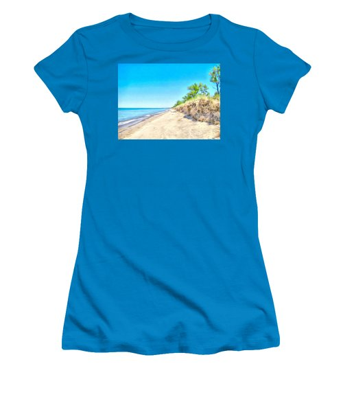 Women's T-Shirt (Junior Cut) featuring the painting Lake Huron Shoreline by Maciek Froncisz