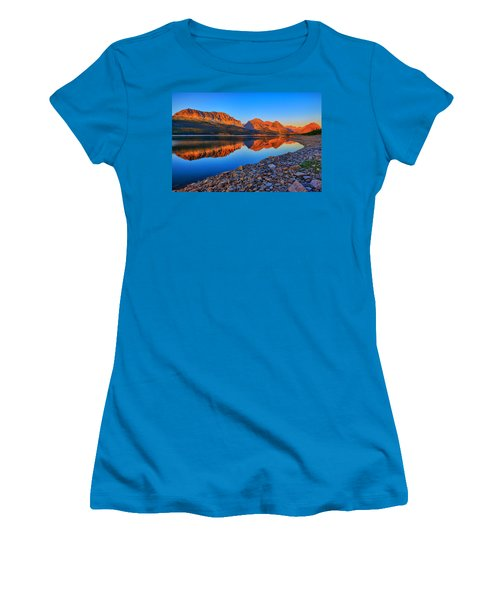 Women's T-Shirt (Junior Cut) featuring the photograph Lake Sherburne Dawn by Greg Norrell