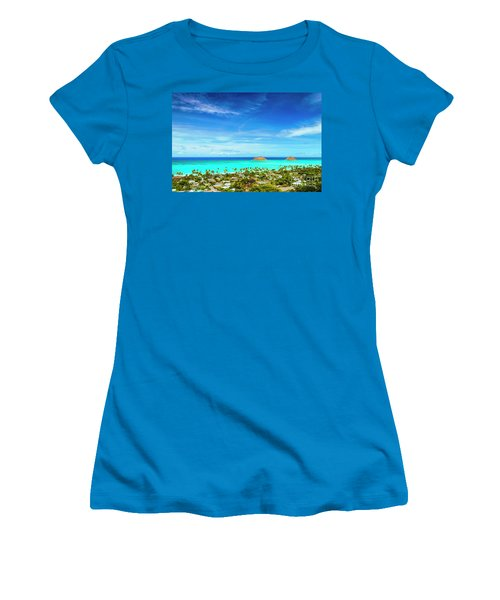 Women's T-Shirt (Junior Cut) featuring the photograph Lanikai Beach From The Pillbox Trail by Aloha Art