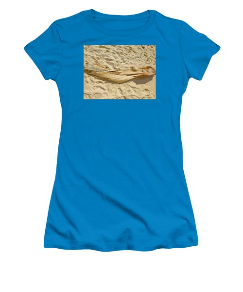 Women's T-Shirt (Athletic Fit) featuring the digital art Leaf In The Sand by Francesca Mackenney