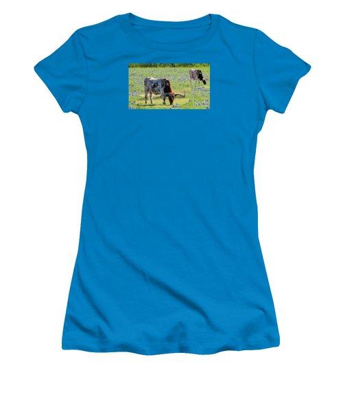 Longhorns In The Bluebonnets Women's T-Shirt (Junior Cut) by Janette Boyd