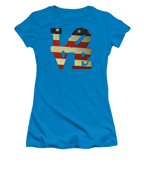 Women's T-Shirt (Junior Cut) featuring the painting Love The Usa by Bill Cannon