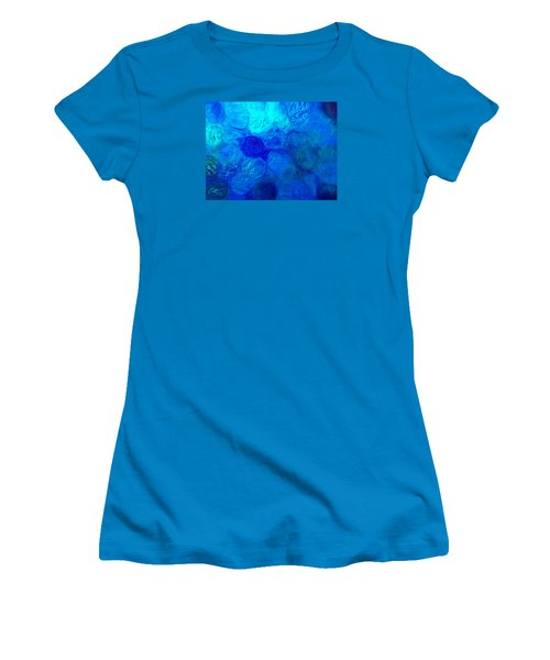 Magnified Blue Water Drops-abstract Women's T-Shirt (Athletic Fit)