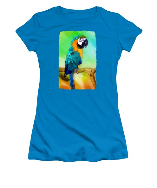 Maya - Macaw Parrot  Women's T-Shirt (Junior Cut) by Linda Koelbel