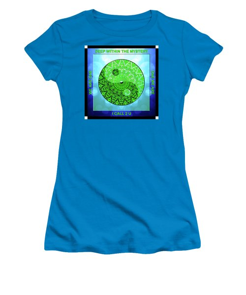 Women's T-Shirt (Junior Cut) featuring the digital art Mission Piece 1a     I Call 2 U by Ginny Gaura