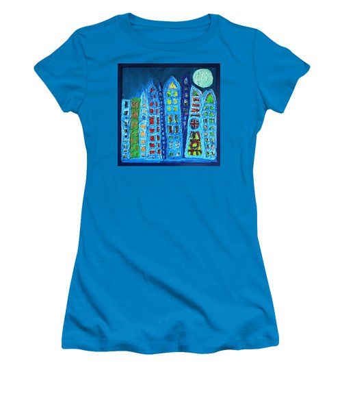 Moonlit Metropolis Women's T-Shirt (Junior Cut) by Darrell Black