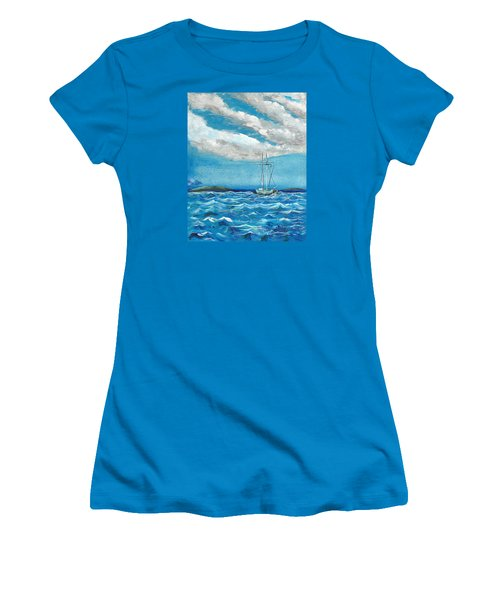 Women's T-Shirt (Junior Cut) featuring the painting Moored In The Bay by J R Seymour